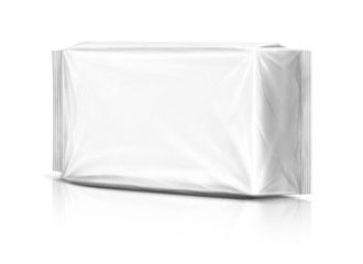 Blank plastic pouch isolated on white background