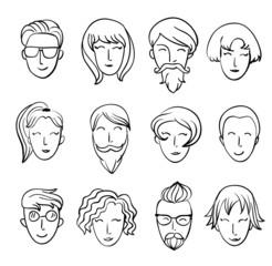 Cartoon people's heads. Characters design.