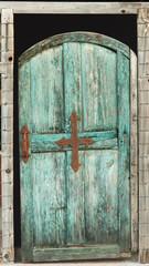 Old blue-green door