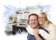 Happy Couple Hugging with Custom Kitchen Drawing and Photo Behin