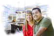 Mixed Race Couple Over Kitchen Design Drawing and Photo