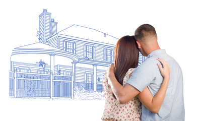 Military Couple Looking At House Drawing on White