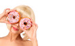 canvas print picture - Blonde woman with colorful donuts isolated on white