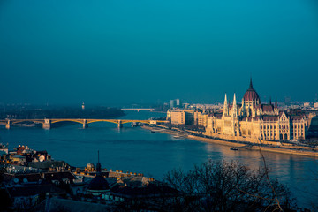 Hungarian parliament with Margaret bridge view