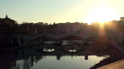 Ponte Vittorio Emanuele II at sunset. Rome