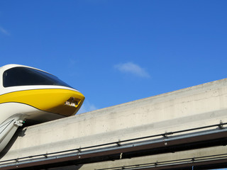 High speed monorail train closeup