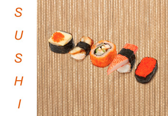 Asian food sushi on wooden background