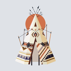 Vector illustration of Indian house Tepees (Wigwam)