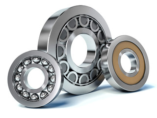 Group of bearings isolated on white background 3D