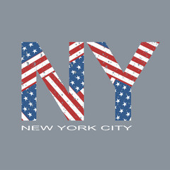 New york flag typography, t-shirt graphics, vector format eps10