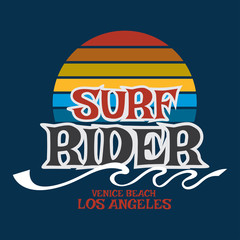 Surf rider California typography, t-shirt graphics, vector forma