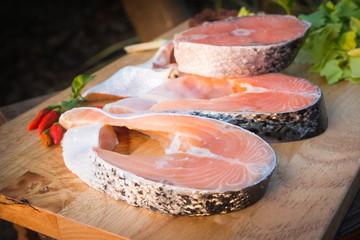 fresh salmon fish and vegetable for good health
