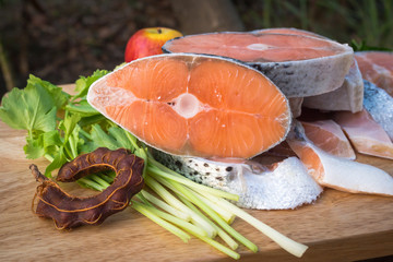 Fresh salmon fish and vegetable for good health