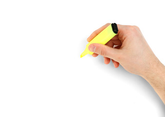 Male hand with colorful marker isolated on white