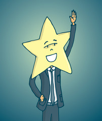 Popluar celebrity with star face waving