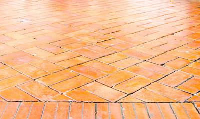 Perspective background : orange brick floor