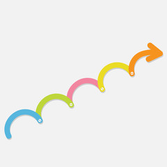 Colorful Timeline up upwards arrow screw Infographic Flat