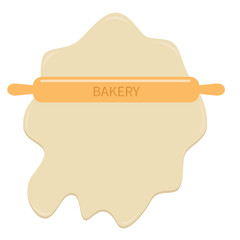 Roll out dough wooden rolling pin plunger bakery  Template Flat