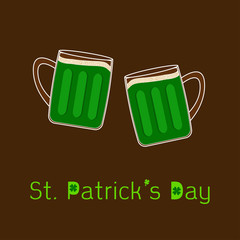 St Patricks Day Two green beer glasses froth bubble. Flat design
