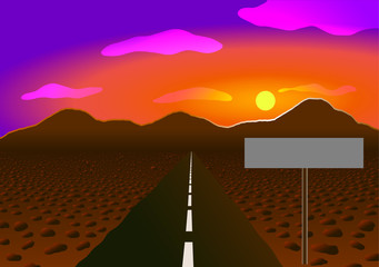 Vector illustration. Road in the desert to the mountains.