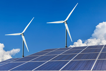 solar panels and wind turbines energy from nature