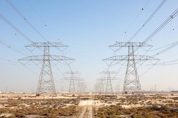 High voltage power line in Jebel Ali, Dubai, UAE