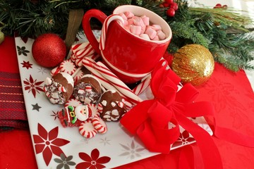 Candy with hot chocolate topped with marshmallows.