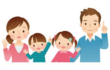 若い家族 4人 上半身