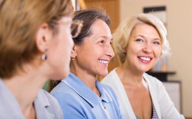 Portrait of female pensioners indoor