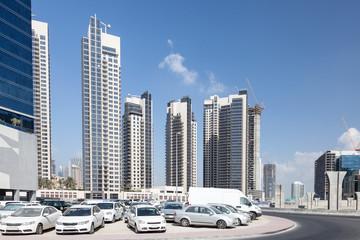 Parking lot in the city of Dubai, United Arab Emirates