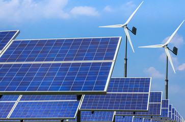 solar energy panels and wind turbines  energy from nature