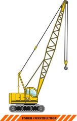 Crane. Heavy construction machines. Vector illustration