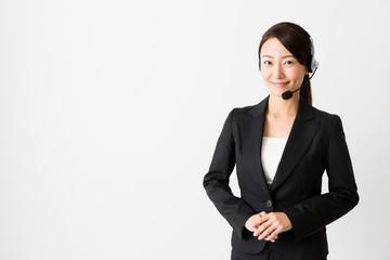 asian operator on white background