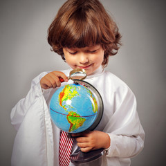 schoolboy studying Globe