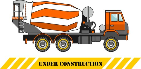 Concrete mixer. Heavy construction machines. Vector illustration