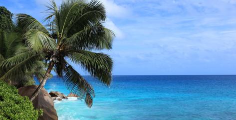 panorama sur le bleu et la côte des seychelles