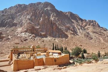 Saint Catherine's Monastery in Egypt against blue sky