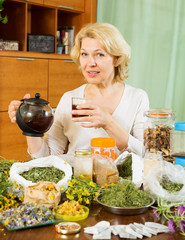 mature woman with herbal tea