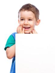 Cute boy is holding blank banner