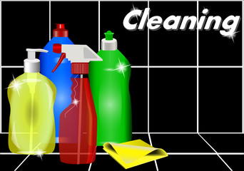 Different detergents against the black tiles. Cleaning.