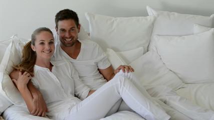 Romantic couple on sofa