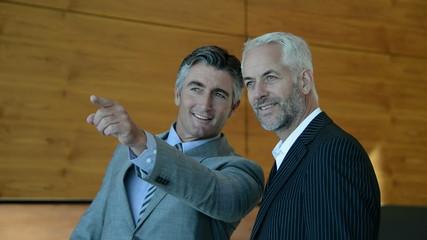 Mature businessmen talking