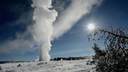 Erupting geyser