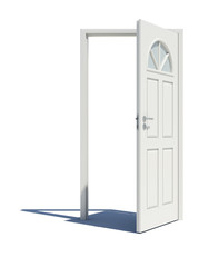 Opened white door with shadow
