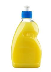 Yellow detergent in plastic bottle