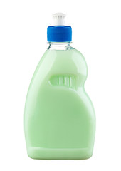 Green detergent in plastic bottle