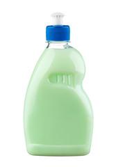 Green detergent in plastic bottle