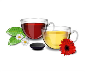 Two cups of tea with different flowers daisies, gerbera and shee