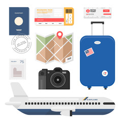 Set of vector colorful travel illustrations. Flat design trend.