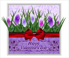 Greeting card with bow and flowers. Valentine's Day.